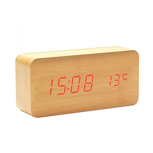 WH-IOE Réveil de chambre en bois LED horloge numérique pour chambre cadeau de festival