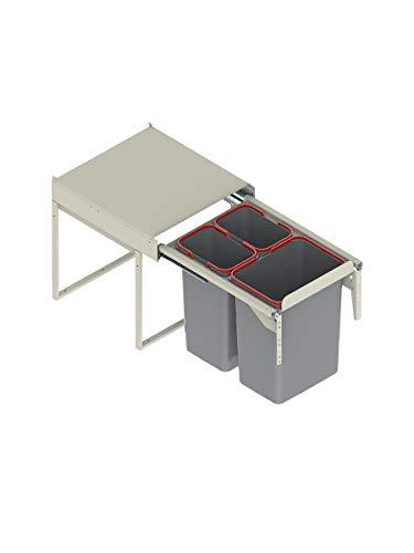 Cubo de basura Rejs con sistema de reciclaje, metal, W:450mm-1x20L+2x10L(JC606M-3)
