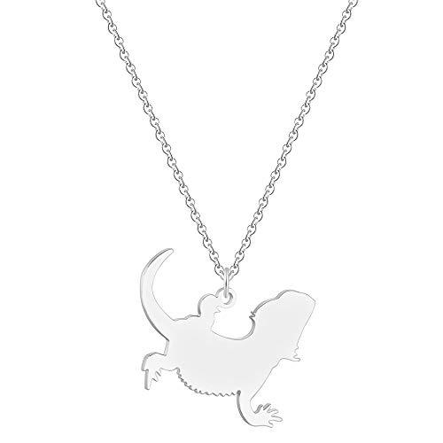 HAOJIUBUJIAN Animal Lagarto Collar Colgante Mascota Reptil Barbudo Dragón Collar Collares Joyería Souvenirs Amantes Regalo De Cumpleaños