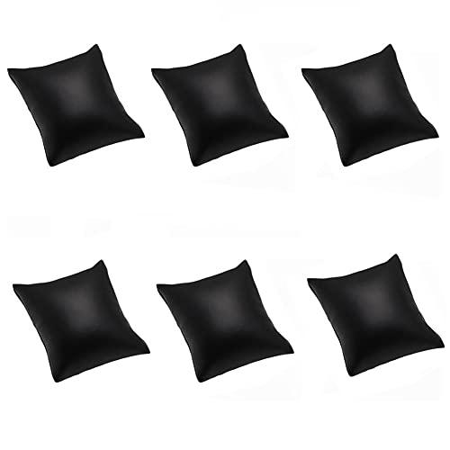 6 Stück schwarzes PU-Leder-Kissen für Armbanduhren, Armreif, Kissen für Schmuck-Ausstellungen, Ständer 8 x 9 cm
