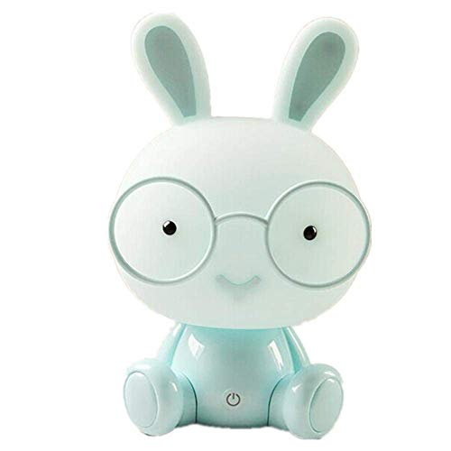 BIBIQ LED Hase Nachtlicht Teelicht Kind Lampen Augenschutz Notlicht Berühren Dekoration Schlafzimmer Nachttisch Atmosphäre Beleuchtung,Blue