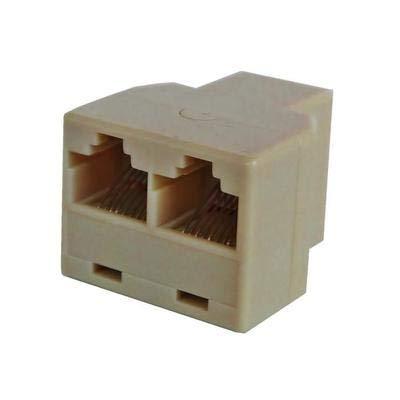 Cy - Lote de 4 enchufes dobles RJ11 6p4c para cable ADSL módem Internet teléfono 1 hembra a 2 hembras