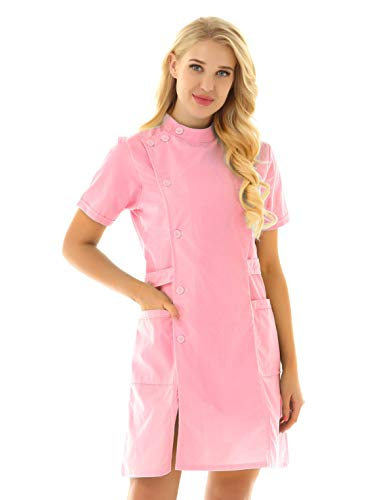 Agoky Disfraz de Enfermera para Mujer Bata de Laboratorio Abrigo Casaca Vestido Manga Corta Cosplay Uniforme de Sanitaria Mdica Halloween Rosa Small