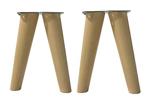 patas para muebles madera haya. Patas cónicas con inclinación, y placa de montaje ya instaladas. Color natural (20 cm natural)
