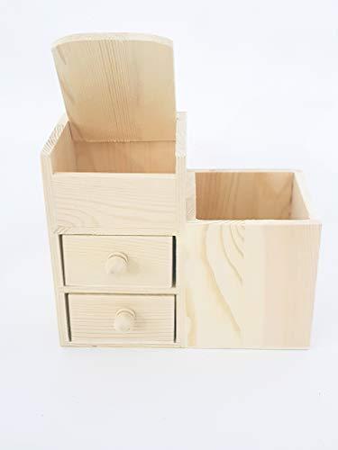 takestop® Organizer met 2 laden 4 vakken van hout RF_63815 potloden potloden opbergkast boekenkast kantoor huis decoratie
