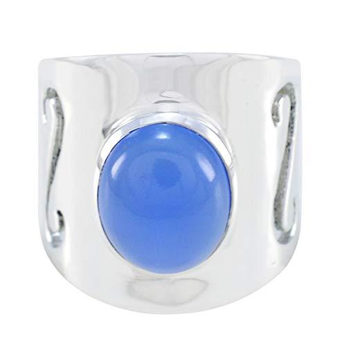 joyas plata echte edelsteine ovale form ein stein cabochon blau chalcedon ring - 925 sterling silber blau chalcedon ring - dezember geburt schütze astrologie echte edelsteine ring