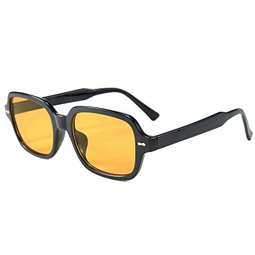 OSAGAMA Vintage Retro Sonnenbrille für Damen Herren Fashion Square Sonnenbrille Fashion Gelb getönt