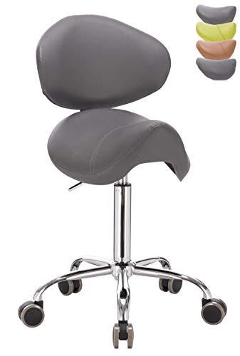 1stuff® Sattelhocker Rollhocker Pony mit Lehne Bigback (abnehmbar) - aufrechte Sitzposition - Sitzhöhe bis ca. 74cm - Arzthocker Arbeitshocker Praxishocker Bürohocker Drehhocker (dunkelgrau)