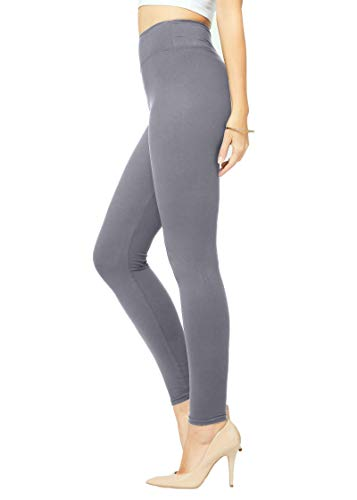 Conceited High Waisted Buttery-Soft Printed Leggings for Women - - Regular and Plus Size - Full Length Solid Charcoal - One Size