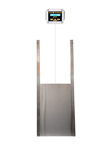Coop Defender Gold Automatic Chicken Coop Door Kit   Opener with Timer and Light Sensor   Vertical Hen House Pop Hole Door   Waterproof Indoor/Outdoor (Aluminum Metal)