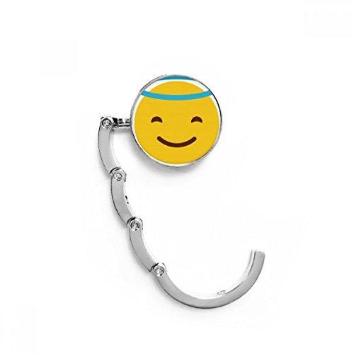 DIYthinker Lächeln von unten Gelb Netter Online Chat Tabelle Haken Falttasche Schreibtisch Aufhänger Faltbare Halter 4,4 x 4,4 cm (Breite x Höhe) gefaltet Mehrfarbig
