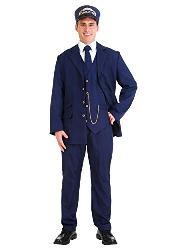 Disfraz de conductor de tren del Polo Norte, talla grande para adulto - azul - 2X