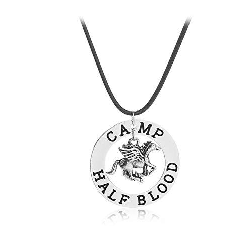 Collar con colgante de Percy Jackson, chapado en plata 925, con texto en inglés «The Last Olympian Camp Pegasus Zeus»