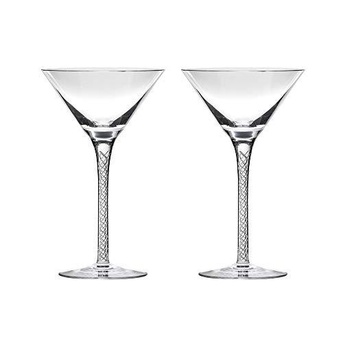 Royal Scot - Juego de 2 copas de Martini de cristal cortadas a mano, diseño de Jacobean Air Twist