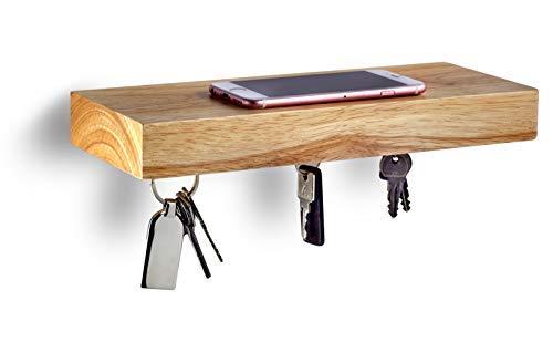 GGC Schlüsselbrett mit Ablage (Schlüsselhalter Magnetisch) I Wandregal für Flur I Moderne Deko aus Eiche (Massiv-Holz) I Als Briefablage oder Schlüsselablage nutzbar (ähnlich wie Schlüsselboard)