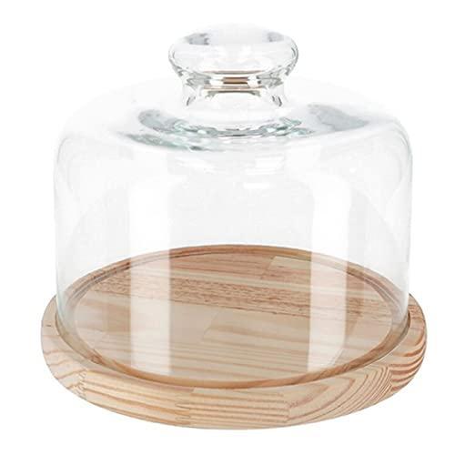 Quesera redonda con tapa de cristal y base de madera 20,5 x 18 cm. Recipiente para conservar frescos quesos o embutidos