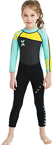 Kids Girls 2.5mm Wetsuit uit één stuk met lange mouwen Swimwear Bodysuit Quick Drying Swimsuit Age 3-8years (Color : Gray-Green, Size : S)