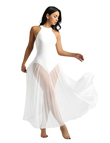 TiaoBug Mädchen Ballettkleid Damen Ballettanzug Body Trikot mit Langer Mesh Rock Maxi Tanzkleid Rückenfrei Kleider lang Ballettkleidung 140 32 34 36 38 Weiß 34