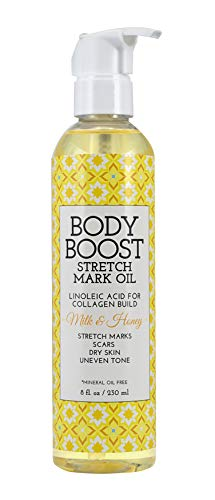Body Boost Milk & Honey Stretch Mark Oil 8oz- Treat Stretch Marks and Scars- Pregnancy and Nursing Safe