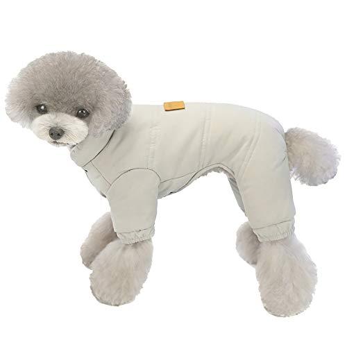 XiinxiGo Hundejacke Winterweste Jacken Hundemantel Hundepullover Haustier Skifahren Kostüm Baumwolle Gepolsterte Weste,Grau,S