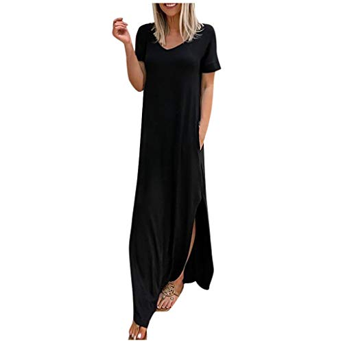 Best Price Fowoukior Women Casual Loose Solid V-Neck Short Sleeves Pockets Long Dress Ladies Loose D...