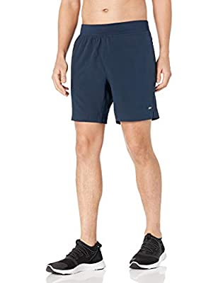 "Amazon Essentials Men's Woven Stretch 7"" Training Short, Navy, Large by Amazon Essentials"
