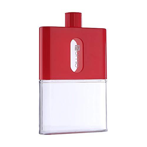 Eco Memos Botella de Agua Plana Botella de Agua de Plástico A5 600ML Botella sin BPA - Botella de Agua Plana Delgada Reutilizable Transparente a Prueba de Fugas para Actividades Escolares (rojo)