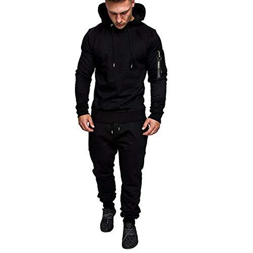 AABBQ Herren Jogging Anzug Trainingsanzug Sportanzug, Hoodie-Sporthose | Jogging-Anzug | Trainings-Anzug | Jogging-Hose (Schwarz, M)