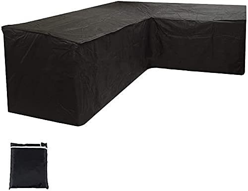 L Shaped Garden Furniture Covers, Heavy Duty Sofa Couch Protector Cover Waterproof Corner Outdoor Furniture Cover with Storage Bag for Outdoor Patio Rattan Furniture Sets (Black, 215X215X87CM)