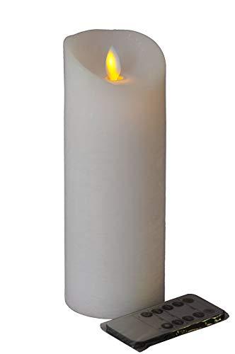 Hochwertige & Realistische LED Kerze - Große Auswahl - Weiß - Höhe: 20cm / Ø 7,5cm - Schlanke & Moderne Form - Material: Echtwachs - Mit Fernbedienung & Funktionen & Timer - Zeitlose Dekoration