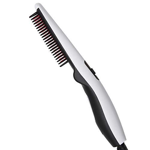 Peine alisador de barba, cepillo calentador rápido para barba de hierro eléctrico, peine de alisado de barba portátil con función antiquemaduras, sujetador alisador de pelo multifuncional