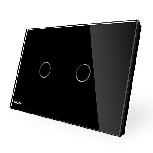 LIVOLO Interruttore della Luce con Indicatore LED Touch Switch con Pannello in Cristallo Toccare Interruttore a parete per Illuminazione Domestica,2 Gang 1 Way,C902-12