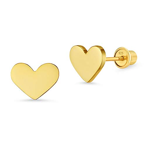 14k Gold Plated Brass Plain Heart Screwback Baby Girls Earrings with Sterling Silver Post