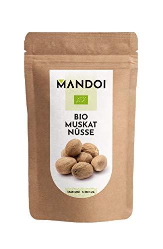 Mandoi BIO Muskatnuss 12 Stück, Muskat Nuss Größe 80/85 aus Siau/Ambon. Muskatnüsse ganz, organic Nutmeg