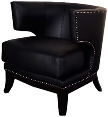 Armen Living 734 Eclipse Club Chair, Black Vinyl with Nailhead Accents and Espresso Wood Finish