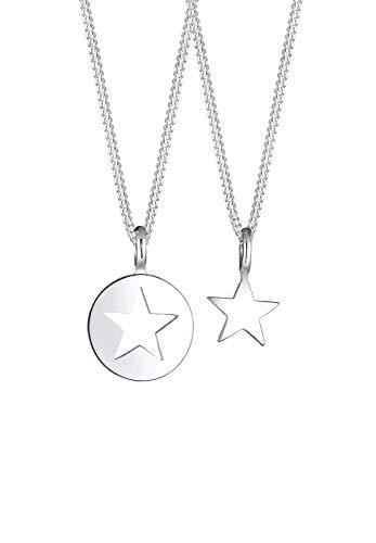 Elli Halskette Damen Mutter Kind Set Stern Anhänger Cut Out in 925 Sterling Silber