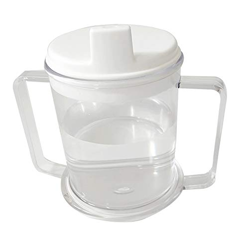 2 Handle Plastic Clear Mug, Lightweight Drinking Cup with Easy Grip Handles, Anti-Spill Sippy Cup for Adults Kids