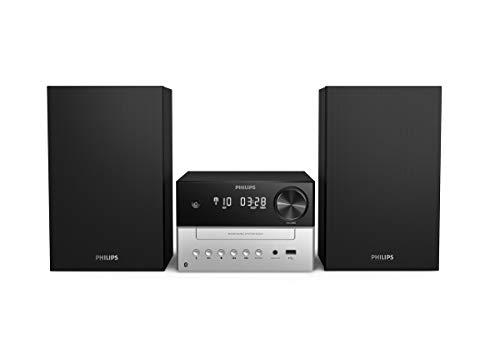 Phillips Audio M3205/12 Minicadena de Música con CD y USB y Bluetooth, Radio FM, MP3-CD, Puerto USB para Carga, 18 W, Altavoces Bass Reflex, Control Digital del Sonido, Modelo 2020/2021