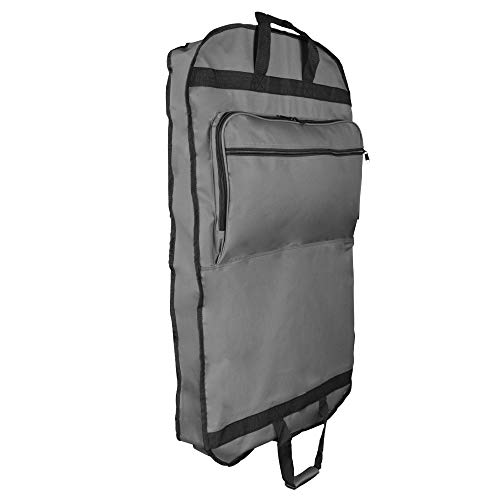 DALIX 39' Grey Business Garment Bag Pocketsfor Suits Dresses Clothing Foldable