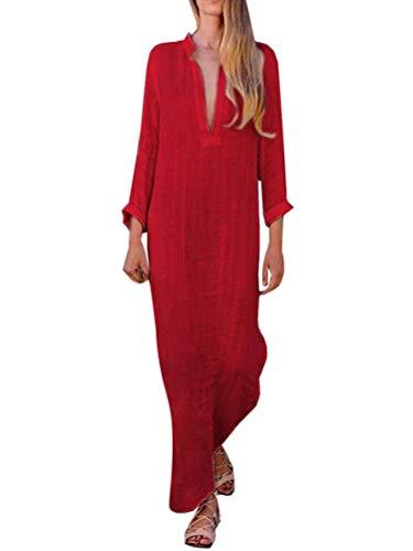 Minetom Mujer Vestido Largo Bohemio Ropa de Playa Vacaciones Vintage Sólida V-Cuello Manga Larga Fiesta Maxi Vestidos Lino Boho Sundress B Rojo ES 38