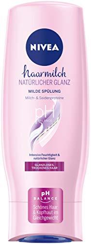 NIVEA Haarmilch Natürlicher Glanz Milde Spülung (200 ml), Pflegespülung mit Milch- & Seidenproteinen, Haarspülung für spürbar gesundes Haar