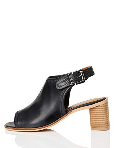 FIND Leather Shoe Sandali a Punta Aperta, Nero (Black), 39 EU