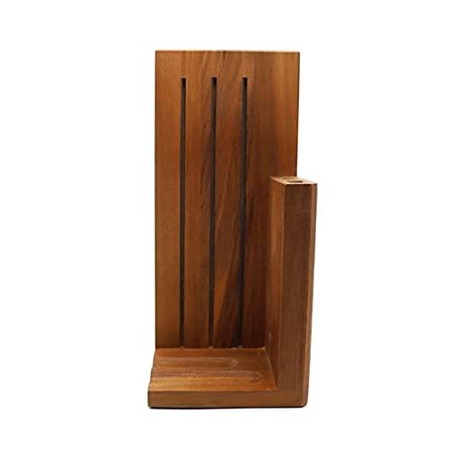 LMJ Soporte de cuchillo de cocina de madera maciza Soporte de cuchillo de adsorción magnética, multifunción ventilado tres ranuras bloque de cuchillos, para hogar cocina ahorra espacio