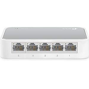 TP-Link 5 Port 10/100 Mbps Fast Ethernet Switch | Desktop Ethernet Splitter | Ethernet Hub | Plug & Play | Fanless Quiet | Desktop Design | Green Technology | Unmanaged (TL-SF1005D),White