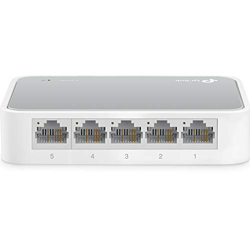 TP-Link 5 Port 10/100 Mbps Fast Ethernet Switch | Desktop Ethernet Splitter | Ethernet Hub | Plug & Play | Fanless Quiet | Desktop Design | Green Technology | Unmanaged (TL-SF1005D),White
