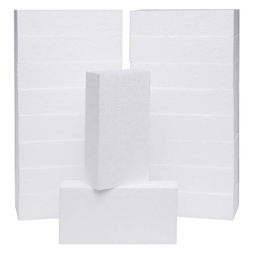 Silverlake Craft Foam Block - 18 Pack of 8x4x2 EPS Polystyrene Blocks for Crafting, Modeling, Art Projects and Floral Arrangements - Sculpting Panels for DIY School & Home Art Projects (18 Pack)