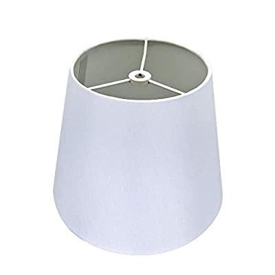 """White Lamp Shade,Alucset Barrel TC Cloth Small Lampshade for Table Lamp and Floor Light,6x10x7.5"""",Natural Linen Hand Crafted,Spider (Ivory White)"""