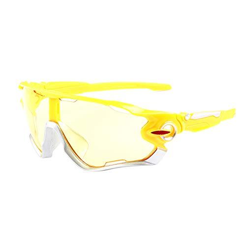 Vikenner Damen Herren Sonnenbrille Polarisierte Brille Dekorative brille ohne sehstärke Lichtschutzbrille Arbeitsplatzbrille blaulichtfilter Brille Farbe Linse Cool Fahrradbrille Gelb