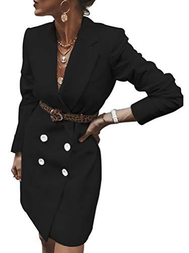 ORANDESIGNE Damen Herbst Winter Elegant Business Blazer Kleider Anzug Zweireihig Plaid Schottenkaro Langarm V-Ausschnitt Minikleid Mit Knopf Mode Jacke Mantel (Schwarz, 40)