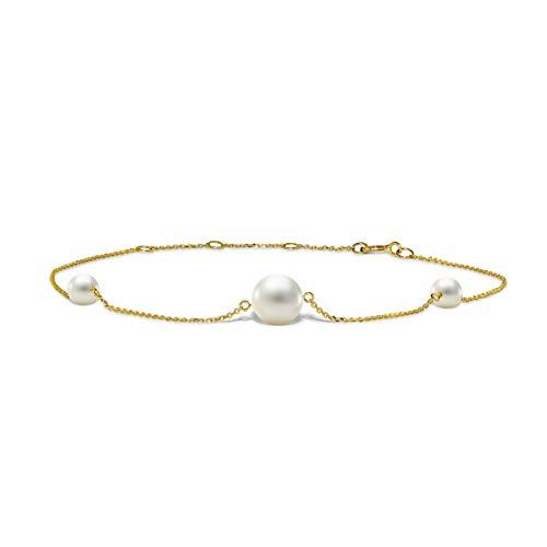 Miore Schmuck Damen Armband mit 3 weiße runde Süßwasserperlen 7 mm Armkette aus Gelbgold 14 Karat / 585 Gold, Länge Einstellbar 17.5-21.5cm